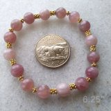 STRETCHY BRACELET--FOR LOVE ATTUNEMENT SOOTHING ROSE QUARTZ (MADAGASCAR) #3