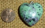 STERLING SILVER RUBY IN ZOISITE/ANYOLITE PENDANT #11