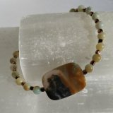AMAZONITE (MULTI-COLORED) AND COPPER-TONED PLATED HEMATITE STRETCHY BRACELET #2