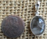 STERLING SILVER BROOKITE AND RUTILE IN CLEAR QUARTZ PENDANT #2