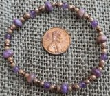 CHAROITE WITH TINAKSITE AND AMETHYST STRETCHY BRACELET #1