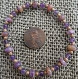 CHAROITE WITH TINAKSITE AND AMETHYST STRETCHY BRACELET #3
