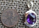 STERLING SILVER AMETHYST FACETED GEMSTONE PENDANT #22