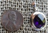 STERLING SILVER AMETHYST FACETED GEMSTONE PENDANT #43