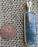 STERLING SILVER DIANITE/BLUE JADE PENDANT #2