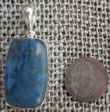 STERLING SILVER DIANITE/BLUE JADE PENDANT #3