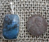 STERLING SILVER DIANITE/BLUE JADE PENDANT #5