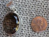 STERLING SILVER SMOKEY QUARTZ PENDANT #16