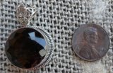 STERLING SILVER SMOKEY QUARTZ PENDANT #5