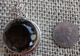 STERLING SILVER SMOKEY QUARTZ PENDANT #9