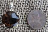 STERLING SILVER SMOKEY QUARTZ PENDANT #23