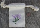 LARGE MUSLIN DRAWSTRING BAGS WITH EMBROIDERED LAVENDER #10