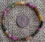 MULTI-COLORED TOURMALINE RONDELLE STRETCHY BRACELET #8