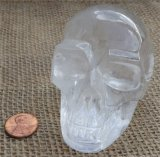 Clear Quartz and Girasol Quartz Skulls