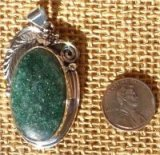 NATIVE AMERICAN STERLING SILVER GREEN AVENTURINE PENDANT #4