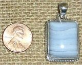 STERLING SILVER BLUE LACE AGATE PENDANT #9
