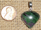 STERLING SILVER RUBY IN ZOISITE/ANYOLITE PENDANT #25