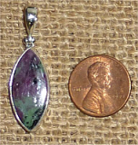 STERLING SILVER RUBY IN ZOISITE/ANYOLITE PENDANT #6