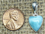 STERLING SILVER LARIMAR HEART PENDANT #26