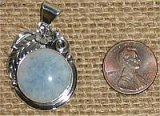 NATIVE AMERICAN STERLING SILVER TROLLEITE IN QUARTZ PENDANT #9