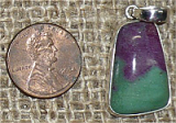 STERLING SILVER RUBY IN ZOISITE/ANYOLITE PENDANT #18