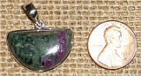 STERLING SILVER RUBY IN ZOISITE/ANYOLITE PENDANT #24