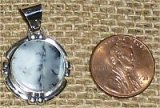 NATIVE AMERICAN STERLING SILVER MERLINITE PENDANT #14