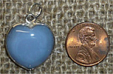 STERLING SILVER BLUE AGATE HEART PENDANT #3