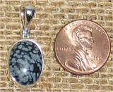 STERLING SILVER SNOWFLAKE OBSIDIAN PENDANT #12