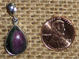STERLING SILVER RUBY IN ZOISITE/ANYOLITE PENDANT #15