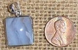 STERLING SILVER BLUE LACE AGATE PENDANT #17