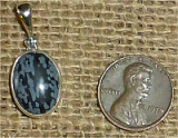 STERLING SILVER SNOWFLAKE OBSIDIAN PENDANT #14