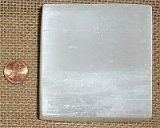 "SATIN SPAR SELENITE 3"" x 3"" SQUARE CLEANSING AND RECHARGING PLATFORMS #2"
