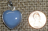 STERLING SILVER BLUE AGATE HEART PENDANT #7