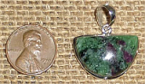 STERLING SILVER RUBY IN ZOISITE/ANYOLITE PENDANT #22
