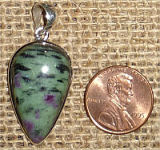 STERLING SILVER RUBY IN ZOISITE/ANYOLITE PENDANT #27