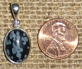 STERLING SILVER SNOWFLAKE OBSIDIAN PENDANT #7