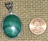 STERLING SILVER MALACHITE PENDANT #4