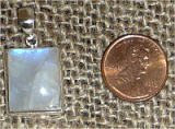 STERLING SILVER RAINBOW MOONSTONE PENDANT #27