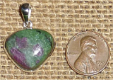 STERLING SILVER RUBY IN ZOISITE/ANYOLITE PENDANT #21