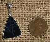 STERLING SILVER SPIDER WEB OBSIDIAN PENDANT #4