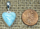 STERLING SILVER LARIMAR HEART PENDANT #46