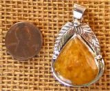 NATIVE AMERICAN STERLING SILVER YELLOW AVENTURINE PENDANT #4