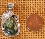 NATIVE AMERICAN STERLING SILVER SERAPHINITE PENDANT #27