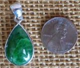 STERLING SILVER CHRISTMAS GREEN JADE PENDANT #1