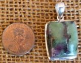 STERLING SILVER RUBY IN ZOISITE/ANYOLITE PENDANT #20