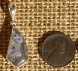 STERLING SILVER FLUORITE-INCLUDED QUARTZ CRYSTAL PENDANT #31
