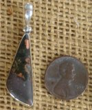 STERLING SILVER PUMPELLYITE/CHLORASTROLITE WITH NATIVE COPPER PENDANT #19