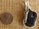 WIRE WRAPPED (STERLING SILVER) BLACK BOTRYOIDAL AGATE PENDANT #4