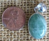 STERLING SILVER GREEN MOONSTONE PENDANT #19